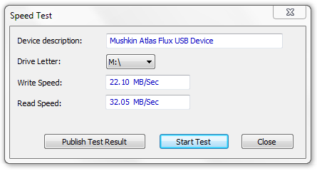 Mushkin Enhanced Atlas FLUX USB 2 Speed Test