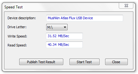 Mushkin Enhanced Atlas FLUX USB 3 Speed Test
