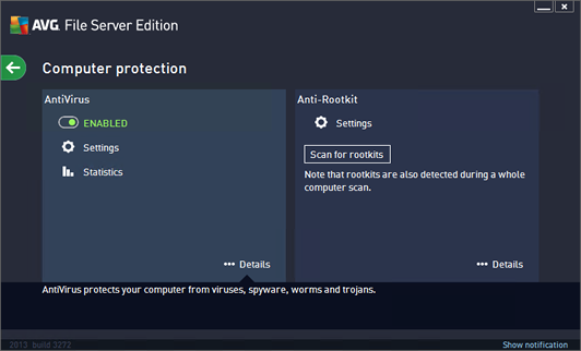 avg options screen