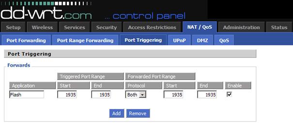 Flash Port Triggering in DD-WRT