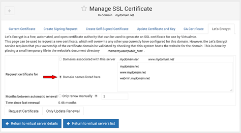 Virtualmin Let's Encrypt Manage