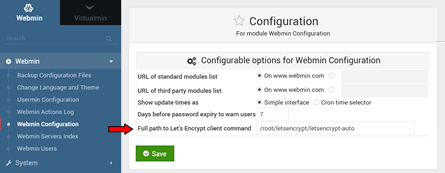 Webmin Let's Encrypt command configuration